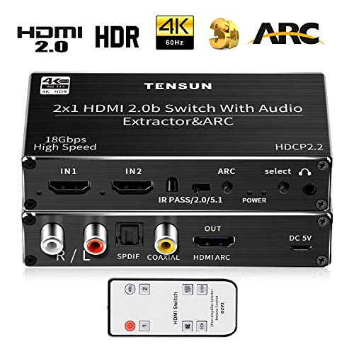 HDMI Switch 4k, Tensun HDMI 2.0 Switch 2 In 1 Out HDMI Switcher met IR Remote HDMI Audio Extractor met Optical Coaxial L/R Ondersteuning 4K@60hz ARC 3D UHD CEC voor PS3/PS4, XBOX One/360, Blu-ray DVD, HDTV