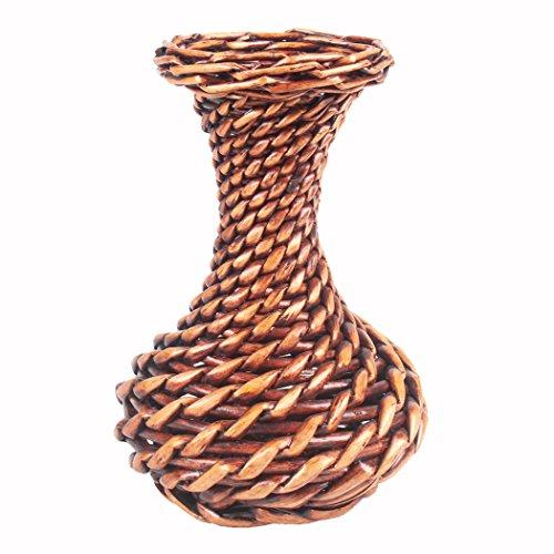 JAROWN puro hecho a mano de seda flor cesta de mimbre ratán plantas artificiales jarrones marrón ollas para decoración del hogar