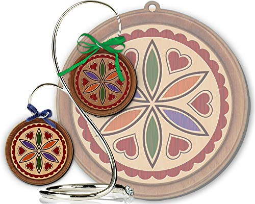 Red Tail Crafters Love & Romance 3in/4in Hardwood Ornament PA Dutch Laser-Engraved Hex Sign