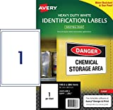 Avery White Heavy Duty Labels for Laser Printers, Water-Resistant, 199.6 x 289.1 mm
