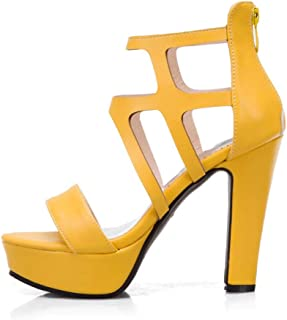 Thick-heeled Waterproof Platform Fish Mouth Style Sandals, High-heeled Plus Size Open-toe Sandals, Women's Shoes with Rear Zipper