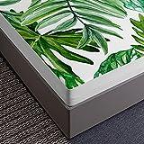 Oduo Sabana Bajera y Funda Almohada, 3D Planta Hoja Impresión Sábana Bajera Ajustable Profundo 30cm con 2 Fundas de Almohada para Cama Individual o Matrimonial (Hoja Verde,160x200x30cm)