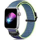 CeMiKa Nylon Armband Kompatibel mit Apple Watch Armband 44mm 40mm 38mm 42mm, Atmungsaktiv Ersatz Sport Nylon Armbänder Kompatibel mit Apple Watch SE/iWatch Series 6 5 4 3 2 1, 42mm/44mm, Blau Grün