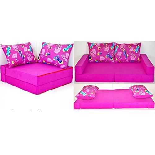 KK H11 rosa-Pony Kindersofa Kindermatratze Sitzkissen Spielsofa Minicouch Set + 2 Kissen (KK H11 (rosa-Pony))