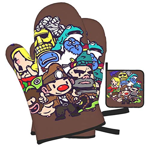 Woidxzxza Spelunky Guy &Amp; Co. Oven Mitts and Pot Holders Set, Heat Resistant Kitchen Bake Gloves...
