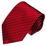 Lorenzo Cana - Marken Krawatte aus 100% Seide jacquard gewebt rot schwarz gestreift - 84280