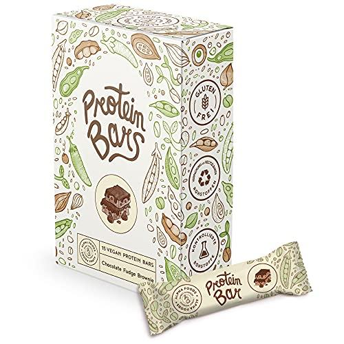 Vegan Protein Bars 15 x 55g - Double Chocolate Brownie - Saftige vegane Proteinriegel ohne Zucker - Low Sugar, High Protein mit Schokolade - Box mit 15 Riegeln