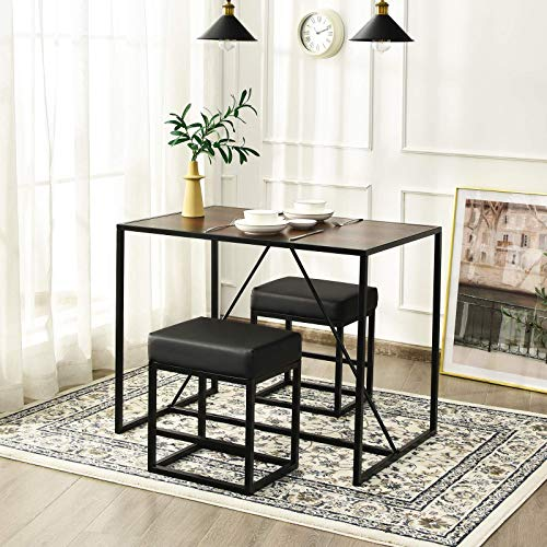 Giantex 3 Piece Dining Table Set, Industrial Kitchen Table Set with Metal Frame and 2 PU Padded Stools for Dining Room, Kitchen, Small Space, Apartment, Dinette Set, Pub Table & Chair Sets