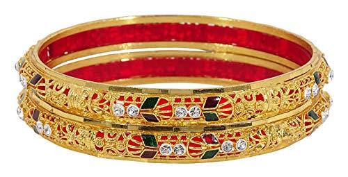 Banithani Tradizionale Matrimonio Festa Oro 2 pz Bracciale Donna Gioielli 2.6 e Lega, Colore: Color Oro, cod. BSG2988C