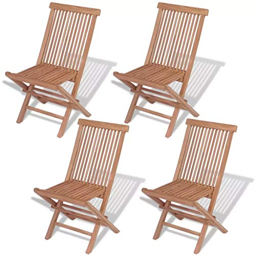 Ausla - Sillas de jardín plegables, 4 unidades, de madera maciza de teca, 46 x 47 x 89 cm, sillas exteriores plegables, jardín, terraza, sillas
