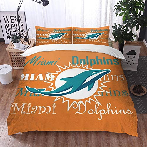 XiHi Duvet Cover Set, Bed Sheets, Rugby team Miami Dolphins Solid color background Artistic creative theme,1 Duvet Cover Set 200 * 200 cm,+2 pillowcase 50x80cm