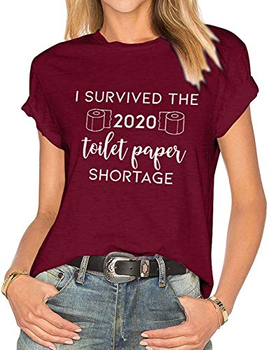 LORSU Women I Survived The 2020 Toilet Paper Shortage T Shirts Funny Corona-Virus Tops Tees Red M
