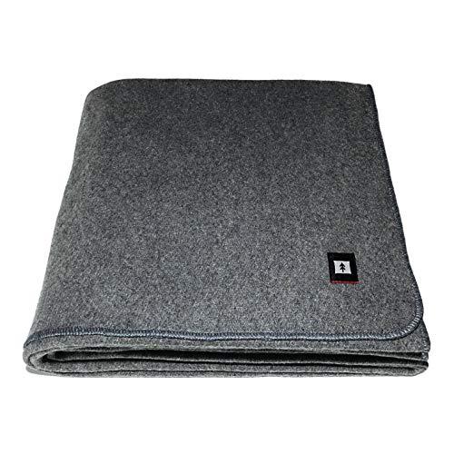 EKTOS 80% Wool Blanket, 4.0 lbs, 66' x 90' (Twin Size) - Grey