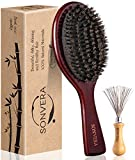 Boar Bristle Hair Brush Men Mens Brush Hair Brushes for Women Pure Boars Hair Brushes for Women Mens | Oval Brush | 100% Bamboo Wooden Bore Pro Eco Hairbrush for Thin Natural Soft Fine Hair