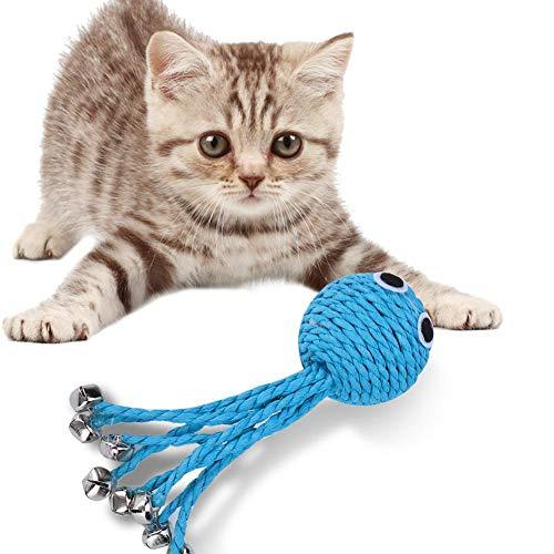 Meiyya Ungiftiges Octopus Shape Blue Cotton Rope 5-teiliges Katzenspielzeug, Pet Cat Cotton Rope Toy, sicheres Training für Pet Cat Puppy