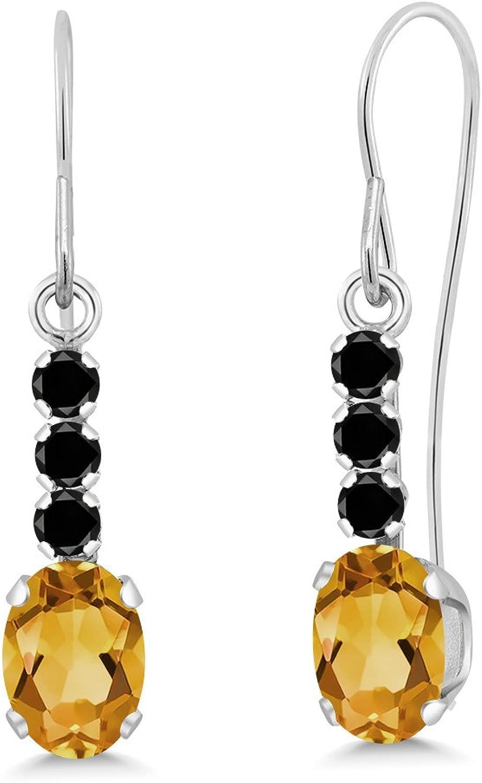 1.00 Ct Oval Yellow Citrine Black Diamond 10K White gold Earrings