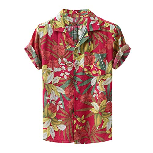 POQOQ Shirts Men Fashion Printed Turn Down Collar Short Sleeve Casual (XL,5Red)