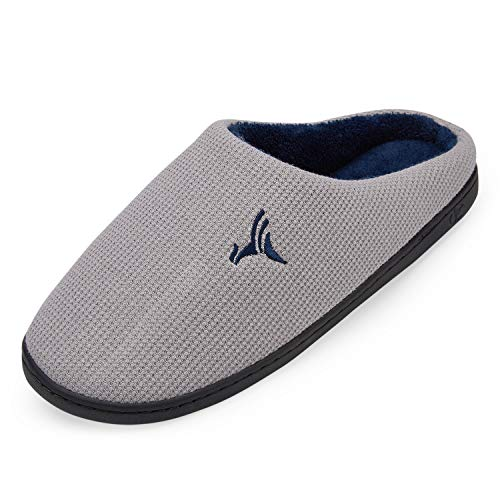 VIFUUR Hombre Zapatillas de casa Espuma de Memoria de Alta Densidad Cálido Interior Lana al Aire Libre Forro de Felpa Suela Antideslizante Zapatos Gris/Marino 46/47