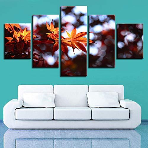 WYBFLF väggkonst 5 målning på duk skogslönn löv konsttryck på heminredning dekoration
