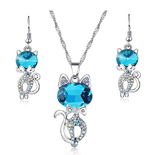Parure Collier Pendentif Bleu Chat Cristal et Boucles d'oreille allongé pour Femme Maman Petite...
