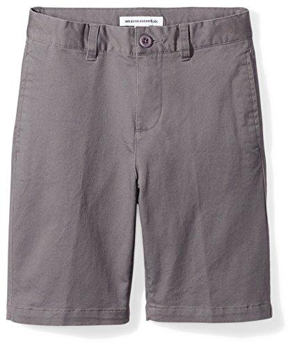 Amazon Essentials Kids Boys Woven Flat-Front Khaki Shorts, Grey, 7 Husky