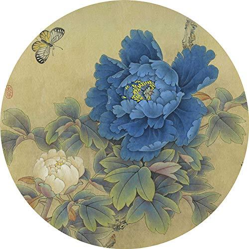 DZX ronde meditatie mat/antislip yoga mat tapijt, Chinese stijl tapijt, geschikt voor mannen en vrouwen, diameter 60 cm D