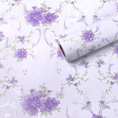 Amao Purple Flower Paper Decorative Self Adhesive Shelf Drawer Liner Sticker Waterproof Wallpaper 17.7 inch by 78.7inch