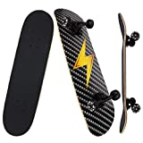 NPET Pro Skateboard Complete 31 Inch 7 Layer Canadian Maple Double Kick Concave Deck Skating Skateboard (Lightning)