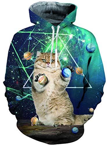 Loveternal Unisex 3D Printed Kapuzenpullover Galaxy Katze Hoodie Long Sleeve Sweatshirt für Männer Frauen L