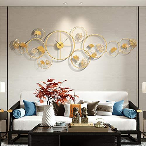 Little stars 3D Effekt Wanddekoration,Metallkreis kleine Ginkgo Blatt wanduhrdekoration,Chinesischer Stil und hohles Handwerk Geeignet für Wohnzimmer Schlafzimmer Hotel