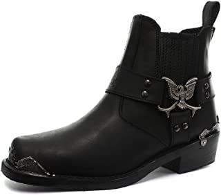 Bottines Boots Homme Cuir véritable Noir Rock Punk Goth Boucle Aigle Bout en métal