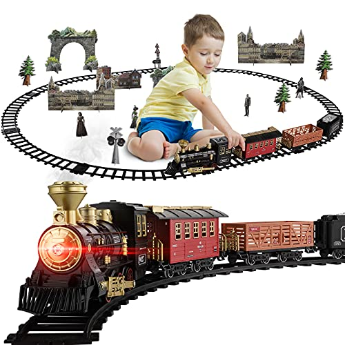 Baby Home Metal Alloy Train Set w/ Steam Locomotive Engine, Cargo Car and Tracks, Electric Train Toy for Boys Girls w/ Smokes,Light & Sounds,Gifts for 3 4 5 6 7 8+ Year Old Kids