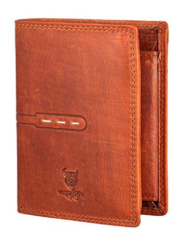 MATADOR Herren Geldbörse mit RFID/NFC Schutz Portemonnaie Geldbeutel Portmonee Damen Hochformat Brieftasche Braun