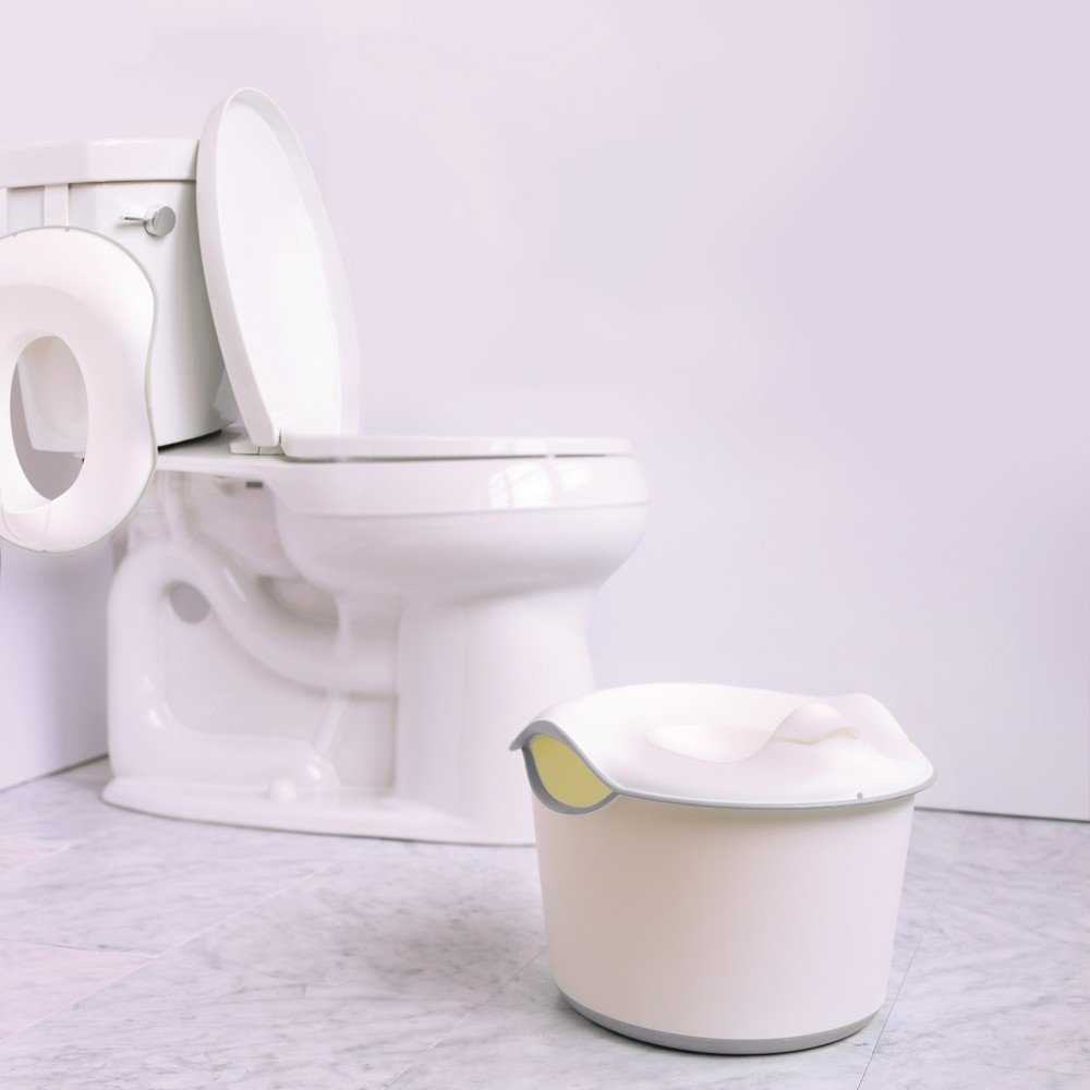 Ubbi Adjustable Toilet Trainer for Toddlers in Potty Training with Built-in Handles and Bonus Potty Hook for Easy Storage, Gray