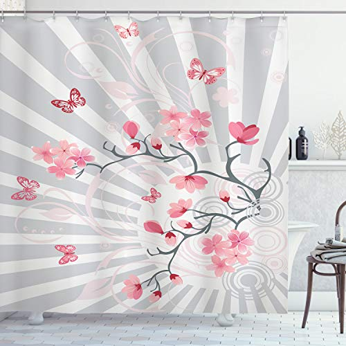ABAKUHAUS Natur Duschvorhang, Vögel auf Kirschbaum, Set inkl.12 Haken aus Stoff Wasserdicht Bakterie & Schimmel Abweichent, 175 x 180 cm, Hellgraue Rosa