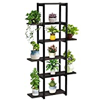 supporto per piante supporto in metallo per fiori e piante e fiori, scaffale espositore per fioriera a 6 livelli, verticale organizzatore per balcone esterno interno giardino,nero