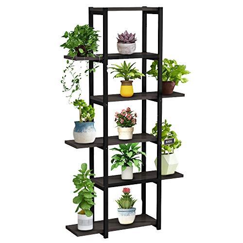 Soporte de Flores Plantas, Estantería de Metal para Macetas, Escalera para Flores para Exterior Interior Salón Oficina Jardín Balcón con 6 Estantes, Negro