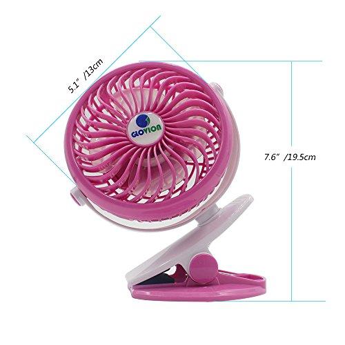 Mini Desk Fan, Glovion Clip-on Stroller Fan, 2600mAh Rechargeable Battery Clip Fan, 360 Adjustable Wind, Personal Clip or Desk Fan with Speeds Settings, Indoor& Outdoor Personal Cooler - Pink