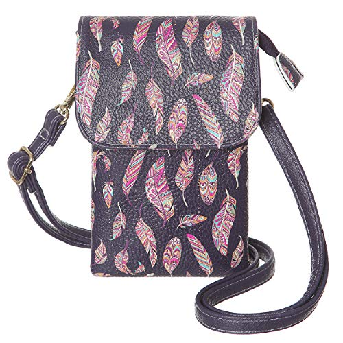 MINICAT Cute Small Crossbody Cell Phone Purse Synthetic Leather Mini Cellphone Bags for Women(Feather-Black)