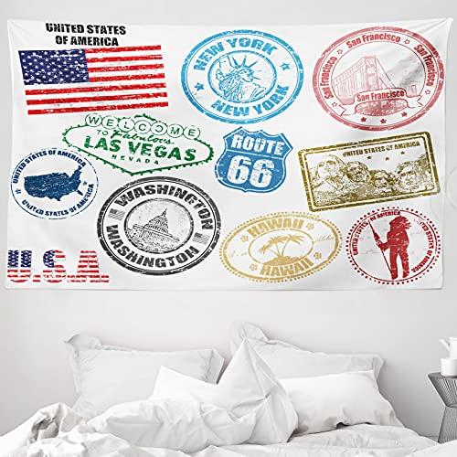 ABAKUHAUS Vereinigte Staaten Wandteppich & Tagesdecke, Grunge Stamps, aus Weiches Mikrofaser Stoff Wand Dekoration Für Schlafzimmer, 230 x 140 cm, Mehrfarbig