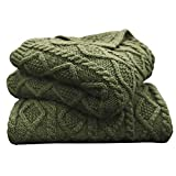 HiEnd Accents Cable Knit Soft Wool Throw Blanket - 50X60 Sage Green