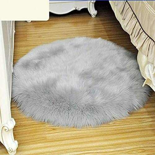 DIELUNY Cojines de silla redondos, almohadillas de piel sintética para silla de piso suave, cubierta de asiento de coche, cubierta de asiento de salón y dormitorio, cojín gris 60 x 60 cm