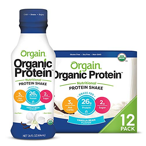 Orgain Organic 26g Grass Fed Whey Protein Shake, Vanilla Bean - Meal Replacement, Ready to Drink, Low Net Carbs, No Sugar Added, Gluten Free, Non-GMO, 14 Ounce, 12 Count (Packaging May Vary)