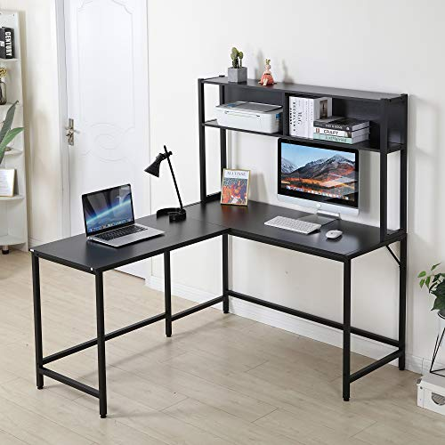 YOLENY 55 Inch L-Shaped Computer Desk with Hutch,Space-Saving Corner Desk with Storage Shelves,Home Office Desk Study Workstation for Home,Office Black