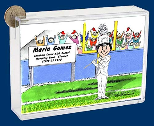 Personalized Friendly Folks Cartoon Caricature Bank: Marching Band – Flute – Female