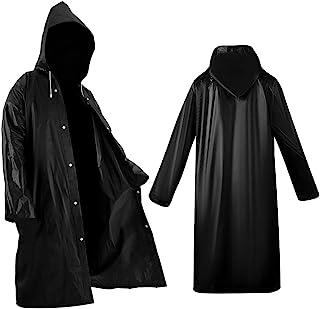 2 Pack Black Raincoat Portable Ponchos, Roctee Waterproof EVA Reusable Rain Jacket for Men and Women, Durable Rain Coats L...