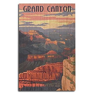 Lantern Press Grand Canyon National Park, Arizona - Sunset View (10x15 Wood Wall Sign, Wall Decor Ready to Hang)