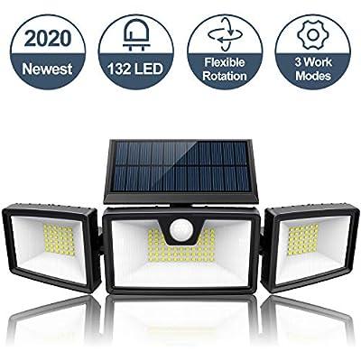 2020 Newest | Super Bright Solar Motion Sensor Light Outdoor w/ 3 Work Modes, 3 Adjustable Heads, Wider Lighting Range. Waterproof Wireless Security Flood Light for Outside(1500LM, 132 LED, 5500K)