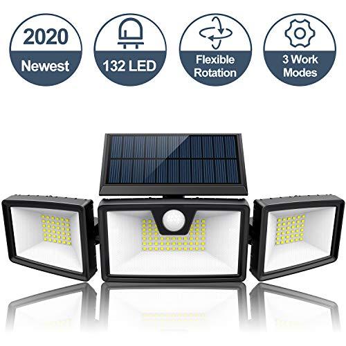 2020 Newest | Super Bright Solar Motion Sensor Flood Light Outdoor w/ 3 Work Modes, 3 Adjustable Heads, Wider Lighting Range. Waterproof Solar Security Lights for Wall Garden(1500LM, 132 LED, 5500K)