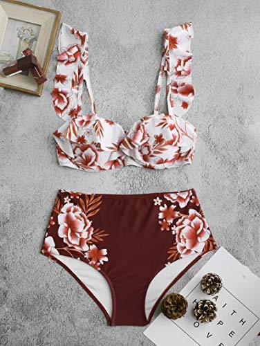 weichuang Bikini de cintura alta con estampado floral con volantes y tirantes ajustables (color: floral, talla: 6)